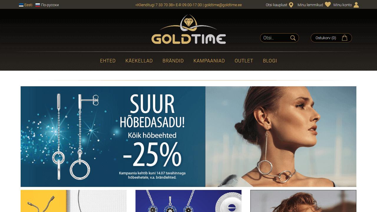 Goldtime avaleht kasutajaliides
