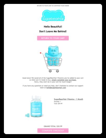 Sugarbearhair abandoned cart email marketing