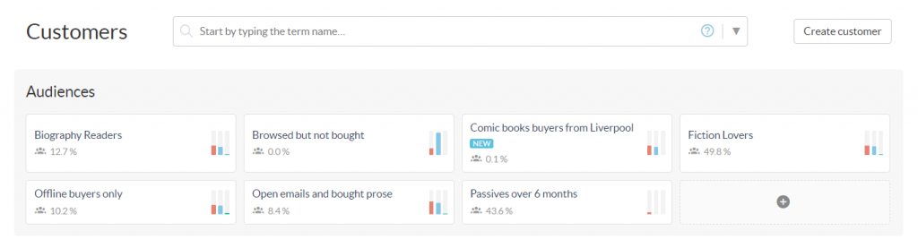 Custobar customer audience view