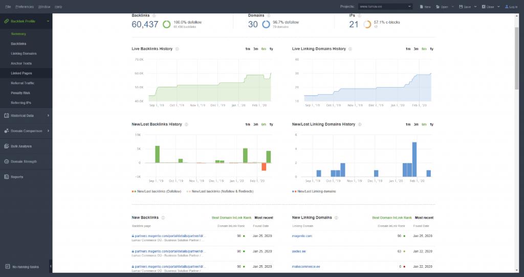 SEO PowerSuite SEO SpyGlass näide