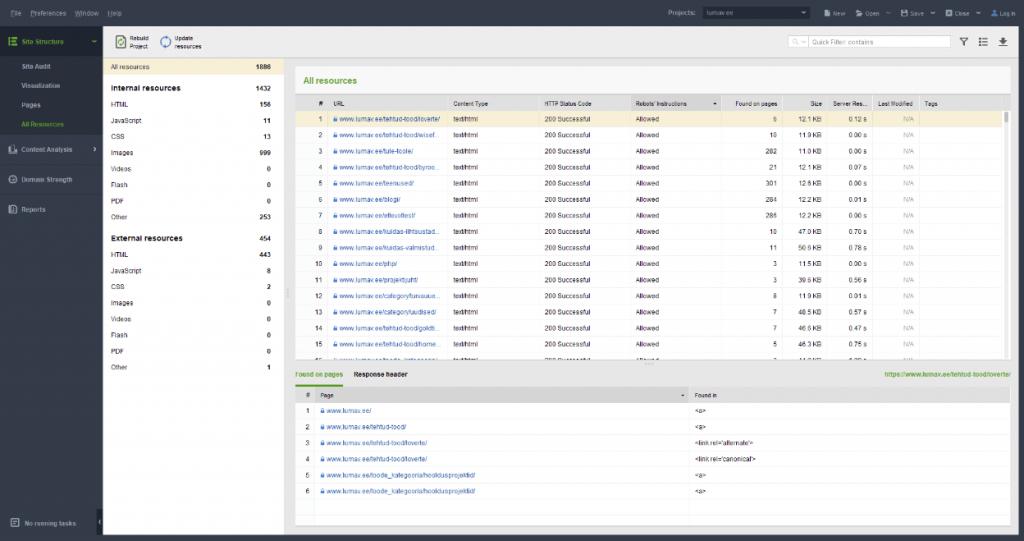 SEO PowerSuite WebSite Auditor näide